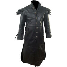 Mens REAL Black Leather Goth Matrix Trench Coat Steampunk Gothic -T24