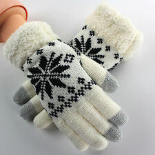 Knit Wool Lady Women Girl Snowflake Winter Keep Warm Mittens Gloves Fashion Gift
