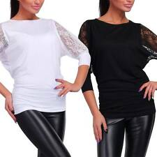 Women Crew Neck Long Sleeve T-Shirt Ladies Casual Solid Lace Stretch Tops Blouse