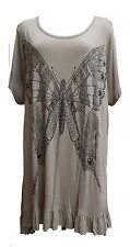 NEW Butterfly Print Crystal Trim Flare Hem Top Coffee PLUS SIZE 22/24 & 26/28