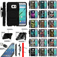 For Samsung Galaxy S7 G930 Dual Layer Protective Case Stand + Tempered Glass