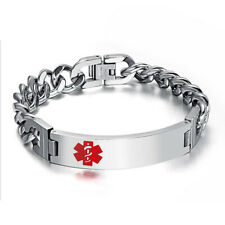 Stainless Steel Medical Alert ID Tag Logo Wristband Bracelet Chain Mens Jewelry