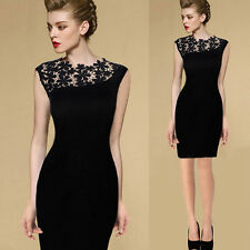 Women Short Sleeve Lace Little Black Dress Party Evening Cocktail Mini Dresses