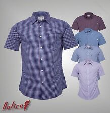 Mens Branded Onfire Casual Chest Pocket Short Sleeve Check Shirt Top Size S-XXL