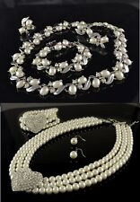 CREAM GLASS PEARL DIAMANTE CRYSTAL NECKLACE, EARRING, BRACELET SETS