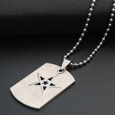 Stainless Steel Ball Beads Chain Necklace Titanium Steel Star Tag Pendant