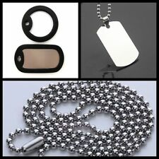 Army ID Dog Tag Necklace Pendant Military Chain Stainless Steel Silver Solid