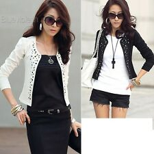 New Womens Outwear Suit OL Blazer Long Sleeve Rivet Lady Short Jacket Coat BLLT