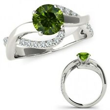 1.25 Carat Green Diamond Solitaire Infinity ByPass Beautiful Ring 14K White Gold