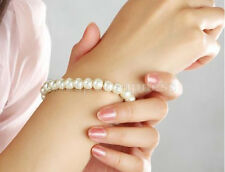 Womens Elegant Glossy 8mm Faux Pearl  Beads Stretch Bracelet Bangle Wedding