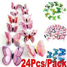 24x 3D Butterfly Design Decal Art Wall Stickers Room Decorations Home Decor
