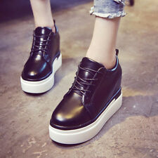 New Flat Lace-up Sneakers High Upper Thick Sole Sport Shoes Ankle Boots Pure Col