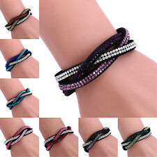 R Charm Rhinestone Leather Wrap Crystal Multilayer Bracelets Bangles for Women