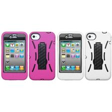 For Apple iPhone 4/4S Kickstand Case Heavy Duty Hard Soft Case Phone Cover