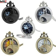 Vintage Pocket Watch Chain Quartz Pendant Necklace Nightmare Before Xmas Gift UK