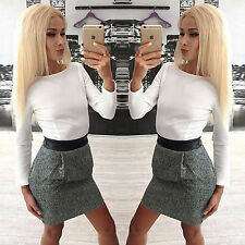 Fashion Womens Long Sleeve Elegant Bodycon Party Cocktail Short Mini Shirt Dress
