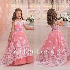Pink Lace Flower Girl Dresses Kids Pearls Beading Prom Party Formal Ball Gowns