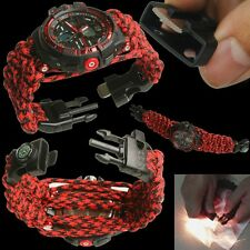 Red Water Risistant Wrist paracord Bracelet Sport Watch Compass Analog-Digital