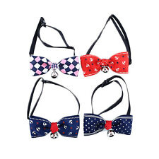 Adjustable Cat Pet Cute Bow Tie With Bell Puppy Necktie Anchor/Star/Lattice