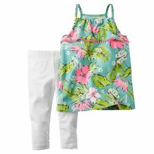 NWT Carter's Baby/Toddler Girls' Tropical Picot Ruffle Tank Top & Leggings