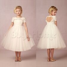Flower Girl Princess Vintage Special Occasion Party Wedding Lace Bow Dress 2-12Y