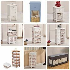 White Shabby Chic Wooden Chest Of Drawers W/ Wicker Baskets Storage Unit Cabinet