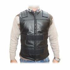 ARD Champs™ Men's Bullet Proof Style Motorcycle Biker Leather Vest-Black S-6XL