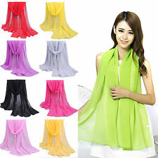 R NEW Fashion Women Long Soft Wrap Lady Shawl Chiffon Soft Silk Scarf Scarves