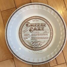 "ROYAL CHINA JEANNETTE 11"" Pie Plate Pan Dish w/ CHEESE CAKE Recipe EUC"