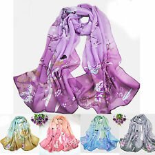 R Fashion Women's Printed Flower Soft Silk Chiffon Neck Scarf Wrap Shawl Stole