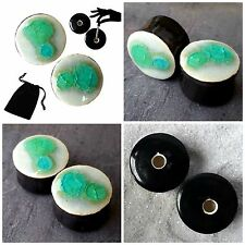 Pair - Crushed Sea Glass Ear Plugs Double-flared Gauges Stretchers Tunnels