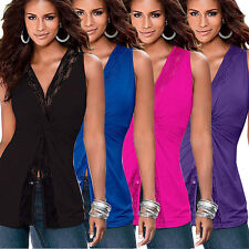 Sexy Womens V-neck Sleeveless Wrap Vest Casual Lace Tank Tops Blouse T-Shirt Tee