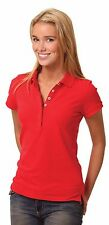 Ladies Solid Colour Short Sleeve Pique Polo with Pocket option size 8-18 NEW 64