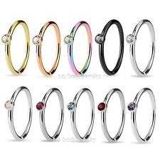 """1PC 20G~5/16"""" Tiny 1.5mm Crystal Set Side IP & Surgical Steel Nose Hoop Cut Ring"""