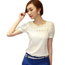 Plus Size Lace Casual White Short Sleeve Women Blouses V-Neck Shirt Chiffon Tops