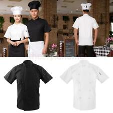 Mens Womens Double Breasted Short Sleeve Chef Jacket Coat Uniform Cook Clothes