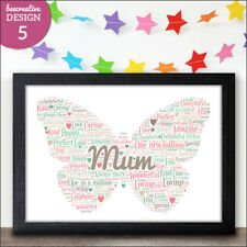 Mothers Day Gifts - Personalised Mothers Day Heart Word Art Gift Present Mummy