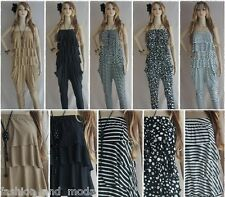 LADIES OVERALL JUMPSUIT ONE PIECE CATSUIT BAGGY TROUSERS BANDEAU PUMPOVERALL 34