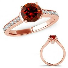 1 Carat Red Diamond V Prong Solitaire Ring Eternity Band Set 14K Rose Gold