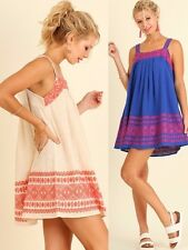 Umgee Pleated Embroidered Tank Dress Square Neckline Sleeveless Shift G0231