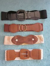 Belts - Choose your design - black brown faux leather crocheted buckle stretchy