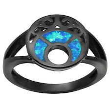 Blue Moon Elegant Vintage Black Gold Plated Created Opal Ring for Women