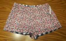 NWT $32 JANE AND BLEECKER Women's Pajamas Flannel Sleep Shorts PINK Floral M