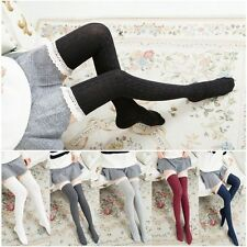 Warm Long Tigh High Knit Lace Socks Women Stockings Over Knee