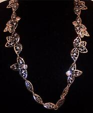 ANN TAYLOR Leaf Necklace 15 inches Simulated Stones NWT