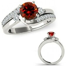 1.5 Carat Red Diamond By Pass Three Stone Ring Fancy Band Set 14K White Gold