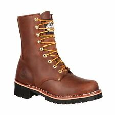 "Georgia GB00048 Mens Brown Leather 8"" Logger Work Boot"