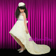 High Glitz Embossed Flower Dress w/ Train Wedding Pageant Sz 18M-9 Ivory FG262
