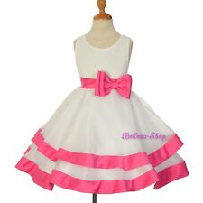 Ivory Hot Pink Tiered Princess Dress Wedding Flower Girl Pageant Size 2T-9 FG310