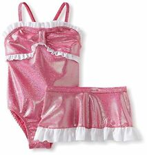NWT Toddler Girls 2T BABY BUNS Two Piece Pink Foil Dot Ruffle Swimsuit Skirt Set